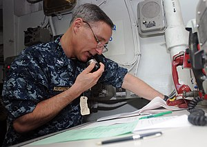 US Navy 120112-N-UE260-025 Capt. Timothy Kuehhas, executive officer of the Nimitz-class aircraft carrier USS Abraham Lincoln (CVN 72), keeps Sailor.jpg