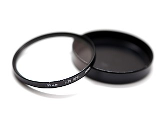 UV filter - An L39 UV filter with a 55mm filter thread