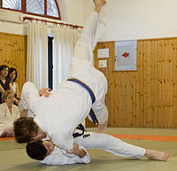 Judoka demonstrating Uki-waza Judo throw
