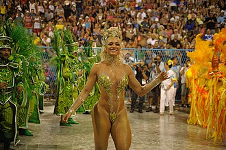 Samba school - A typical performer of Samba dance at Rio Carnival