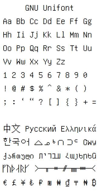 GNU Unifont - Image: Unifont sample v 10.0.06