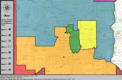 United States Congressional Districts in Minnesota (metro highlight), 1983 – 1992.tif