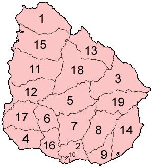 Uruguay departments numbered