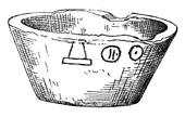 Drawing of a broken stone bowl with a few hieroglyphs