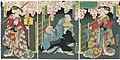 Utagawa Kunisada II - Actors Kawarazaki Gonjûrô I as the Shirabyôshi Dancer Hanako, Seki Sanjûrô III as Utayamabô, Ichikawa Danzô as Sanzarubô, and Nakamura Shikan IV as the Shirabyôshi Dancer Sakurako.jpg