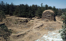 Grass- and scrub-covered ruins set against a backdrop of low pine forest. A crumbling squat square tower stands behind to the right, all that remains of the Temple of Tohil, with the remains of the walls of the ballcourt to the left in the foreground.