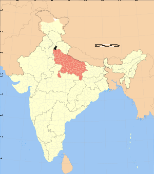 Map showing location of district in Uttar Prad...