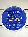 VISCOUNT CECIL of Chelwood 1864-1958 Creator of the League of Nations lived here.JPG
