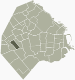 Location of Velez Sarsfield within Buenos Aires