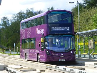 Guided bus - level-boarding onto a double-decker bus on the Leigh-Salford-Manchester Bus Rapid Transit