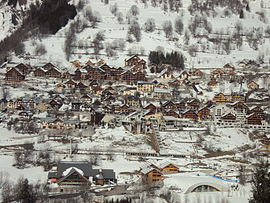 The village seen from the aerial tramway