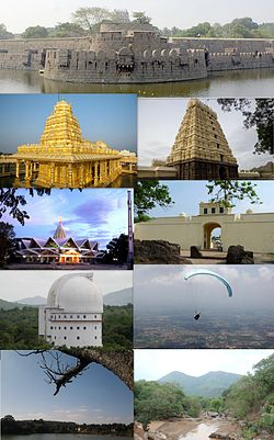 Clockwise from the top: Vellore Fort, Assumption Cathedral, Jalakandeswarar Temple,  Christian Medical College & Hospital, VIT University Campus, Amirthi Zoological Park, Paragliding at Yelagiri and Srilakshmi Golden Temple