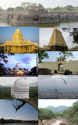 Vellore - Clockwise from the top: Vellore Fort, Assumption Cathedral, Jalakandeswarar Temple,  Christian Medical College & Hospital, VIT University Campus, Amirthi Zoological Park, Paragliding at Yelagiri and Srilakshmi Golden Temple
