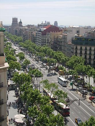 Passeig de Gràcia, Barcelona - Passeig de Gràcia viewed from Casa Milà