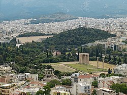 View from Acropolis on the Temple of Olympian Zeus, the Arch of Hadrian and the Panathenaic Stadium (14210707141).jpg
