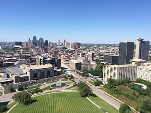 National World War I Museum and Memorial - View of Union Station and the city from top of Liberty Memorial