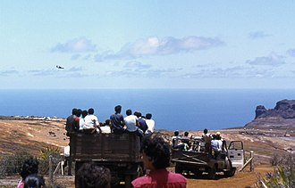 Saint Helena Airport - View over Prosperous Bay Plain in the 1980s.