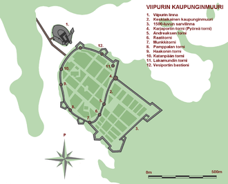 """Vyborg town wall - Vyborg town wall and the """"Horn Fortress"""" in 1750"""