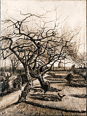 The Parsonage Garden at Nuenen in Winter, pen and ink drawing, March 1884, Museum of Fine Arts, Budapest (F1130, JH465)