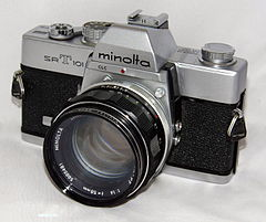 Vintage Minolta SR-T 101 35mm SLR Film Camera, Made In Japan, Year Introduced - 1966 (20052742498).jpg