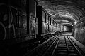 Vintage Sprague rolling stock in a disused tunnel inside the Paris Metro system, 2014.jpg