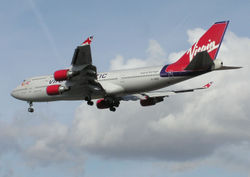 A Boeing 747-400 belonging to Virgin Atlantic Airways, one of the UK's largest airlines.