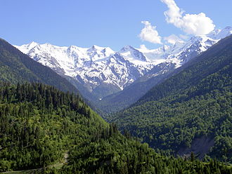 Svaneti - View of the Caucasus Mountains in Svaneti.