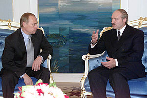 English: MINSK. President Vladimir Putin meeti...