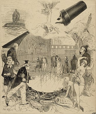 Journey Through the Impossible - An 1882 engraving from L'Illustration, showing scenes and characters from the play