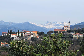 A view of the church of Colomars, from the road to Nice