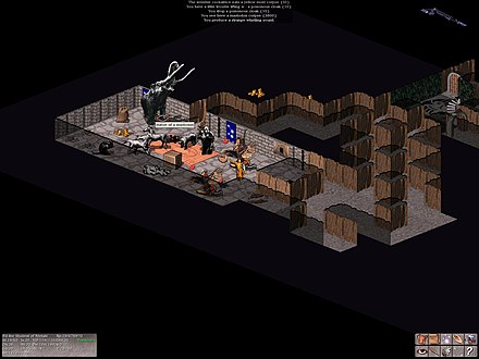 "Modern user-interface for a roguelike, showing the isometric ""Vultures"" sprite-based interface for the game NetHack Vultures-2.1.0 screenshot.jpg"