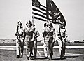 WASP Barbara Erickson and Betty Tackaberry walk at March Army Air Base in Riverside, California, 1943.jpg