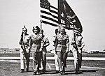 WASP Barbara Erickson and Betty Tackaberry walk at March Army Air Base in Riverside, California, 1943.jpg