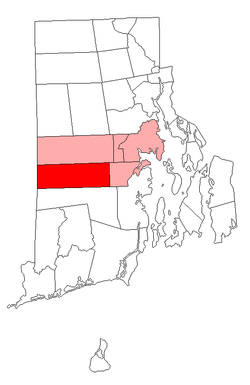 Location of West Greenwich in Rhode Island