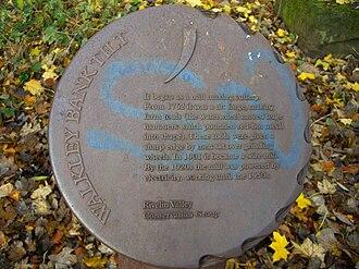 River Rivelin - Cast iron marker at Walkley Bank Tilt, sadly vandalised.