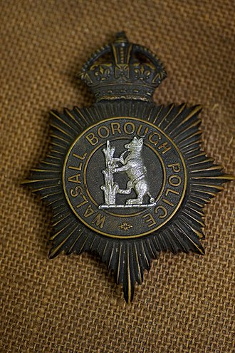 Walsall Borough Police - Image: Walsall Borough Police 1839 1966 badge (13200141093)
