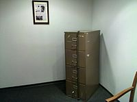 A DNC filing cabinet from the Watergate office building, damaged by the burglars