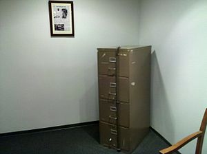 Watergate scandal - A DNC filing cabinet from the Watergate office building, damaged by the burglars