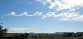 Kelvin–Helmholtz instability - A KH instability rendered visible by clouds, known as fluctus, over Mount Duval in Australia