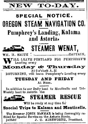 Wenat (sternwheeler) - Advertisement placed January 26, 1871 for Wenat and other steamers of the Oregon Steam Navigation Company.