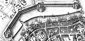 Hull Castle - Aerial depiction of the North Blockhouse (left), castle (centre) and South Blockhouse (right), by Wenceslas Hollar, mid-17th century