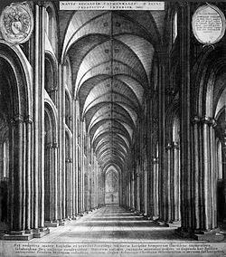 Engraving of the nave, a vast, long space with Norman arches stretching into the distance and a vaulted ceiling. The rose window is just visible in the distance.