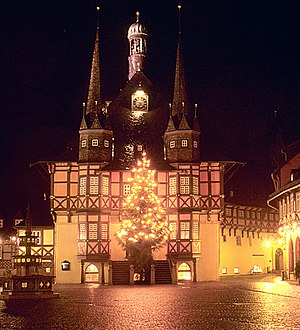 Town hall of Wernigerode with christmas tree.