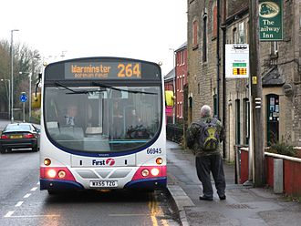 Westbury, Wiltshire - A First Somerset & Avon bus on route 264 (Bath to Warminster) picks up a passenger at Westbury railway station