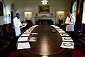 White House Butlers Ron Guy, left, and Von Everett, set the table in the Cabinet Room of the White House, 2009.jpg