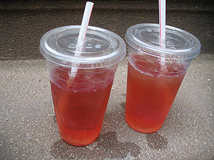 White Zinfandel - Two disposable plastic tumblers filled with White Zinfandel and ice in New York City.