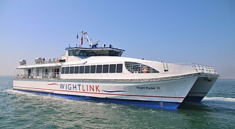Portsmouth Direct line - Wightlink catamaran ferries connect the Portsmouth Direct line to the Island Line by regular services across the Solent from Portsmouth Harbour to Ryde Pier Head.