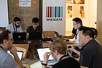 Wikimedia Hackathon Vienna 2017-05-19 Hacking Gurkerl 006.jpg