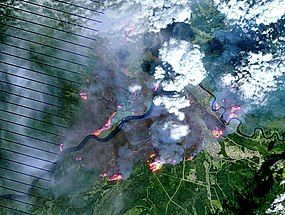 Satellite imagery of the burn scar left by the Fort McMurray wildfire on May 4, 2016