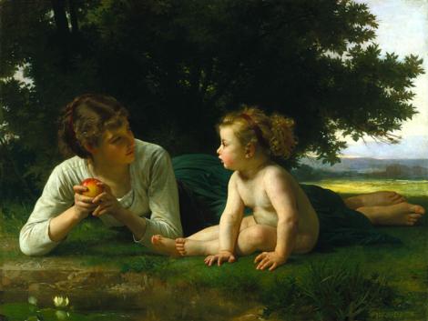 la tentation, peinture bucolique et apaisante(œuvre de William Bouguereau - XIXesiècle)